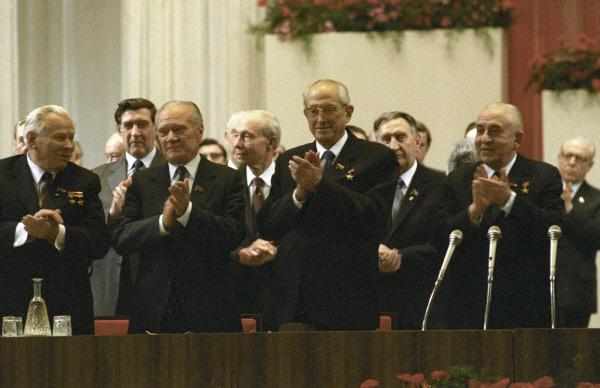 Генеральный секретарь ЦК КПСС Юрий Владимирович Андропов (третий слева) на торжественном заседании, посвященном 165-летию со дня смерти Карла Маркса, в Большом театре, 30 марта 1983 года
