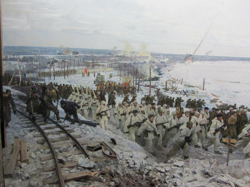 Фрагменты диарамы прорыба блокады Ленинграда.