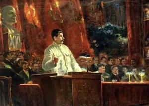 Доклад И.В. Сталина на XVI съезде ВКП(б). 1935. Холст, масло. Государственный Исторический музей