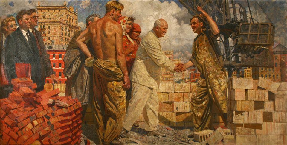 «Н.С.Хрущев среди рабочих-строителей», Ахмед Китаев, 1961