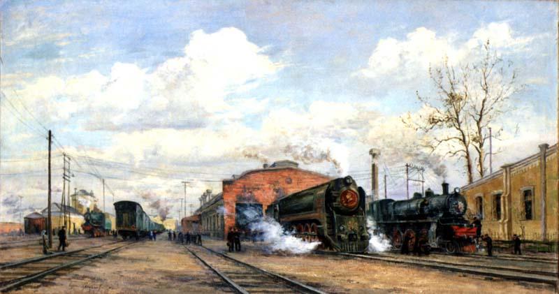 Б. Яковлев. Советский транспорт. Сталинские железнодорожные мастерские. 1950
