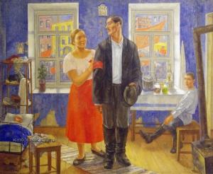 Петров-Водкин Кузьма Сергеевич (1878-1939) «Первая демонстрация. Семья рабочих в I годовщину Октября. 1918 год» 1927