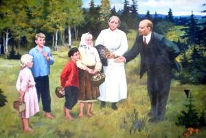 Ленин и Крупская на прогулке с детьми. Неизв. художник.