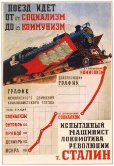 """Советский плакат """"Поезд идет от ст. Социализм до ст. Коммунизм"""""""
