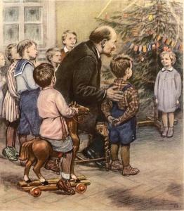 Жуков Николай Николаевич «В.И.Ленин в гостях у ребят лесной школы в Сокольниках в 1919 году» 1954 г.