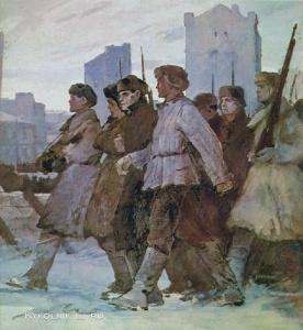Нисский Григорий Григорьевич (Россия, 1903- 1987) «На защиту Москвы. Ленинградское шоссе». 1942