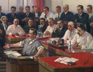 Александр Герасимов «Заседание Наркомтяжпрома», 1937 год. (Фрагмент)