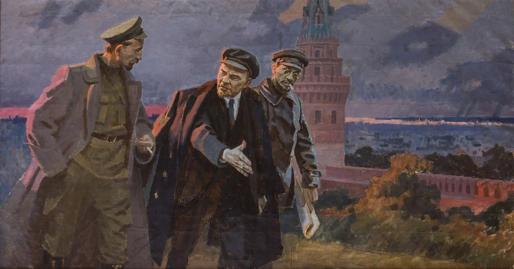 ЛЕНИН, СВЕРДЛОВ, ДЗЕРЖИНСКИЙ (НА ФОНЕ КРЕМЛЯ). Неизв. худ.