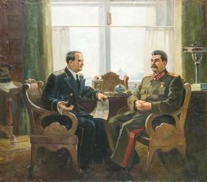 В.М. Молотов на приёме у И.В. Сталина. 1945. Солодовник С.М.