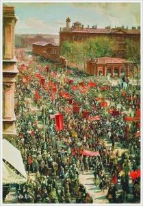 Бродский Исаак Израилевич (Россия, 1884 - 1939) «Первомайская демонстрация на проспекте 25 октября» 1934