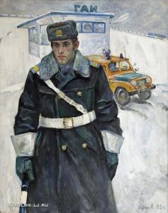 Бурин Лев Николаевич (Россия, 1943) «Портрет инспектора» 1979