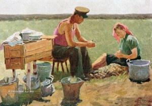 Галицкий Ростислав Николаевич (1920-1979) «Перед обедом. На целине в Казахстане» 1955