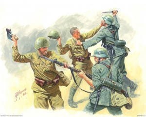 Рукопашный бой. Советская и немецкая пехота. Рис. А. Каращук