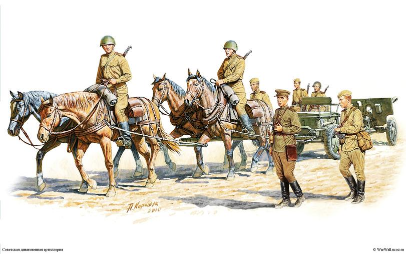 Советская дивизионная артиллерия. Рис. А. Каращука