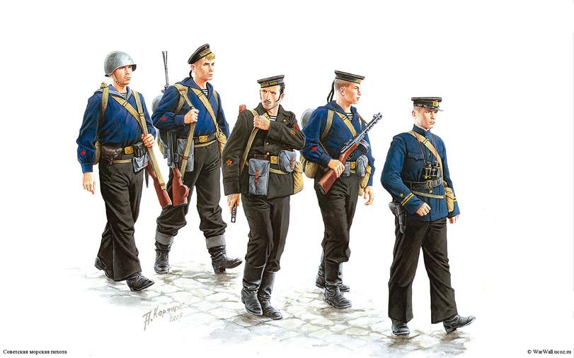 Советская морская пехота. Рис. А.Каращук