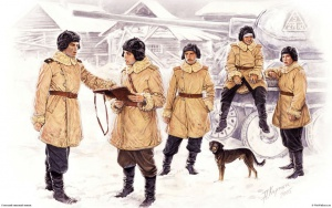Советские танкисты, экипаж Т-34-85. Рис. А. Каращук