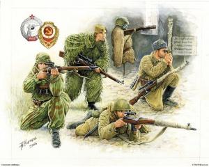 Советские снайперы. Рис. А. Каращук