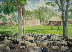 Климентов Михаил Иванович (1889-1969). Овцы на отдыхе. 1929. Акварель, 64х43,3. Частная коллекция