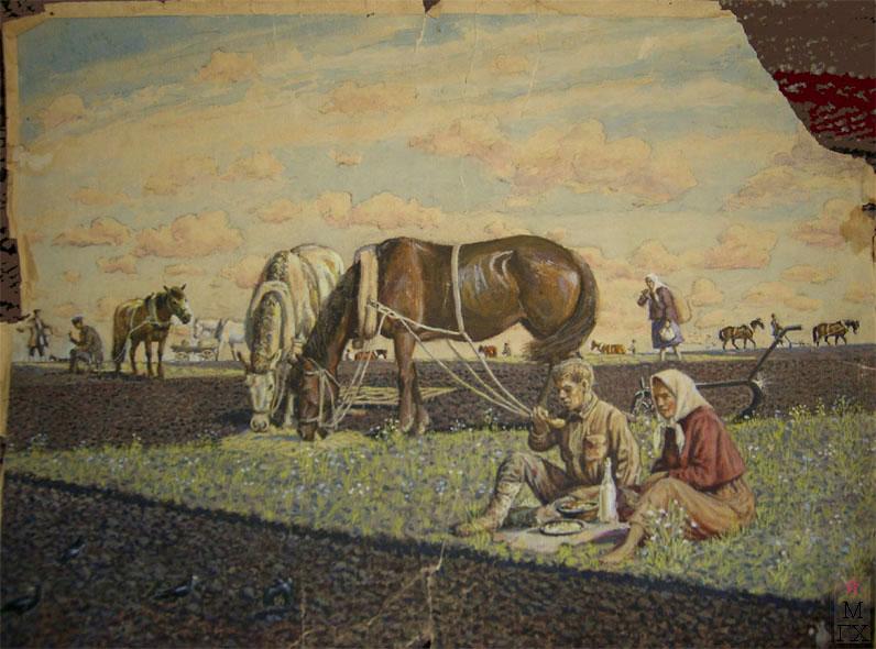 Климентов Михаил Иванович (1889-1969). Cев. Короткий отдых. 1927. 34,9х25,8 акварель.