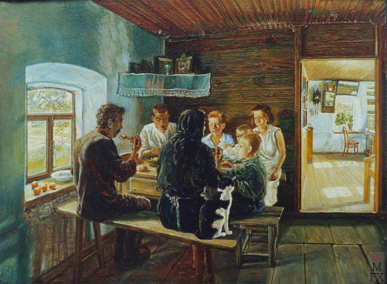 Климентов Михаил Иванович (1889-1969). Семья за обедом. Масло, холст на картоне 1932 год., 18х23,5.