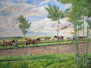 Климентов Михаил Иванович (1889-1969). Пахота. Акварель.