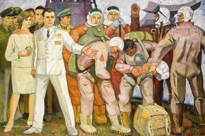 Нестеров Владимир Дмитриевич (Россия, 1932) «Отряд космонавтов» 1969
