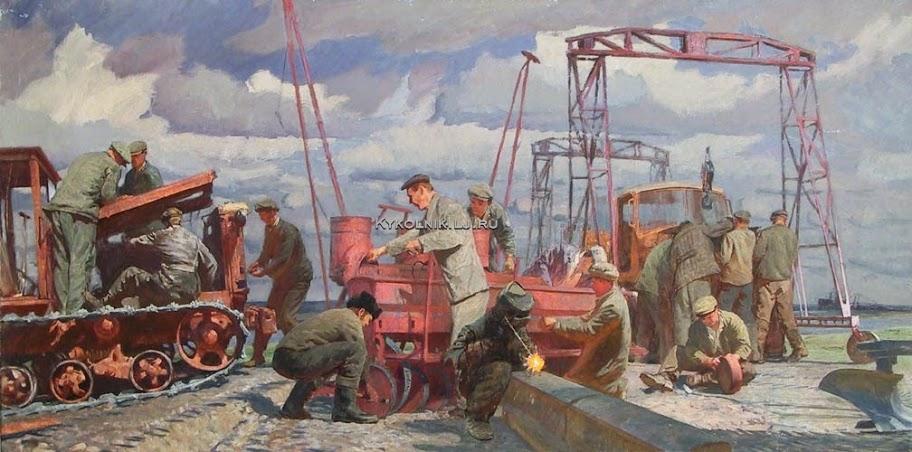 Рубин Ефим Евсеевич (1919-1993) «МТС. Подготовка к севу»