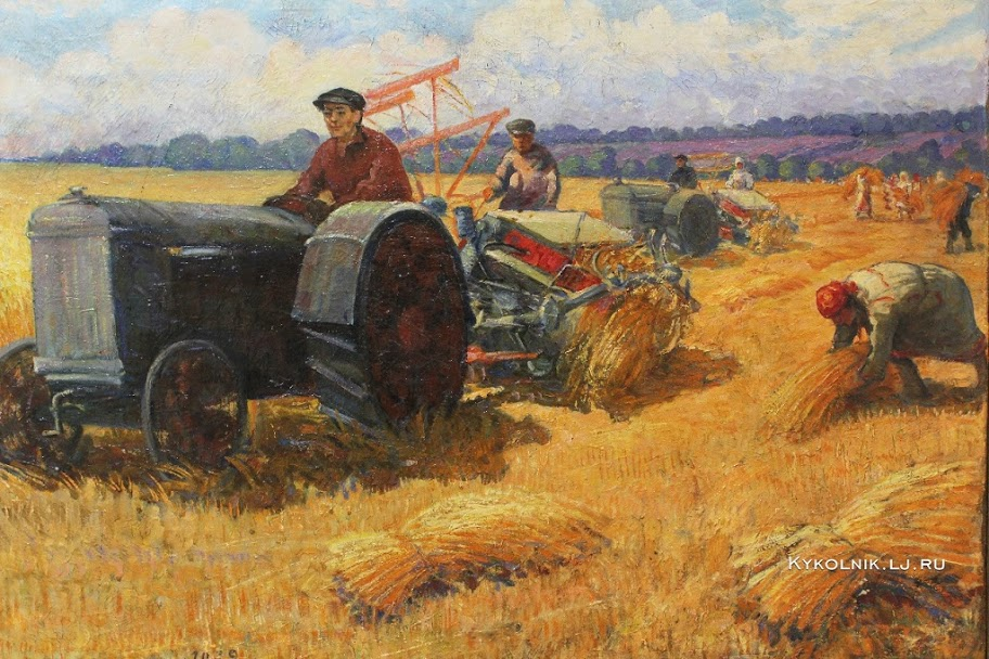 Спиридонов Моисей Спиридонович (1890-1981) «Тракторная жатва в колхозе»