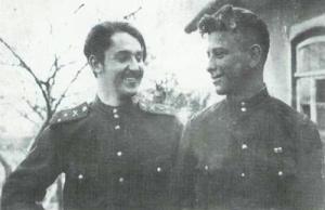 Старший лейтенант Варенников и лейтенант Шелудько. Юго-Западный фронт, Северный Донец, Бакалея. 1943 г.