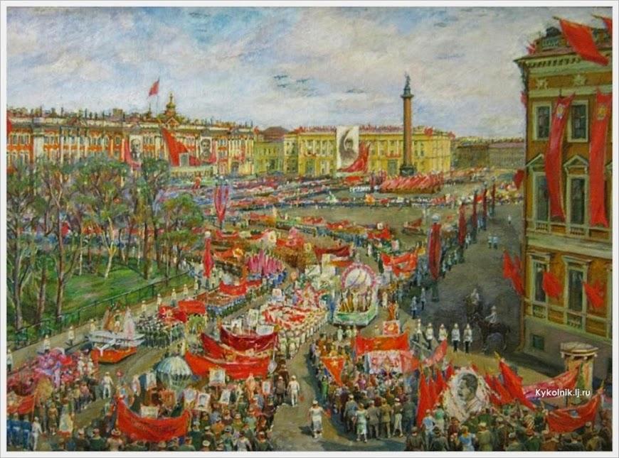 Викулов Василий Иванович (Россия, 1904-1971) «Демонстрация на площади Урицкого» 1937