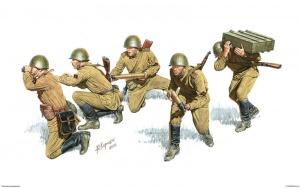 Советские артиллеристы на позиции. Рис. А. Каращук