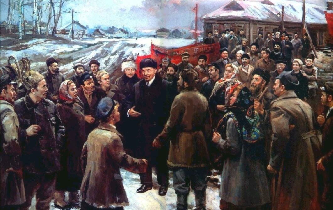Д. Налбандян. В.И.Ленин и Н.К.Крупская среди крестьян деревни Кашино в 1920 году. 1985