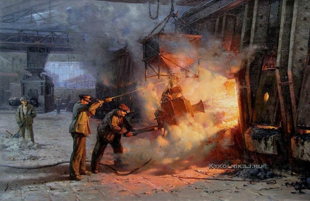 Ховаев Вячеслав Александрович (1911-1977) «В мартене. Заправочная машина» 1952