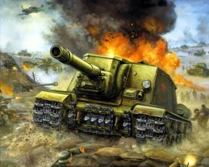 Советская тяжелая самоходно-артиллерийская установка ИСУ-152 в бою