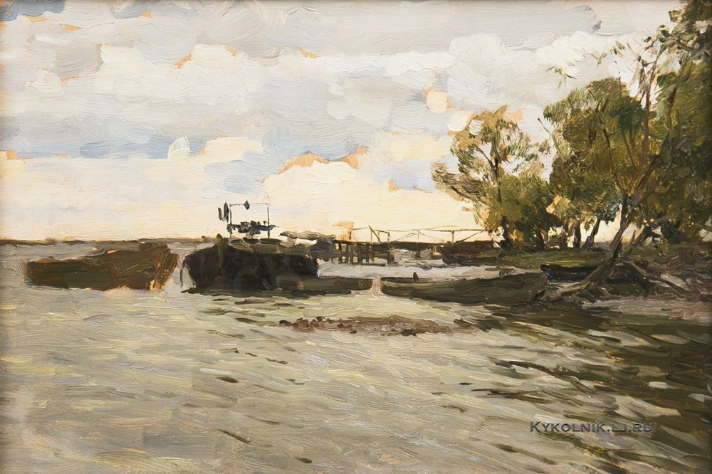 Никонов Михаил Федорович (1928-2010) «Баржи на реке» 1950-е