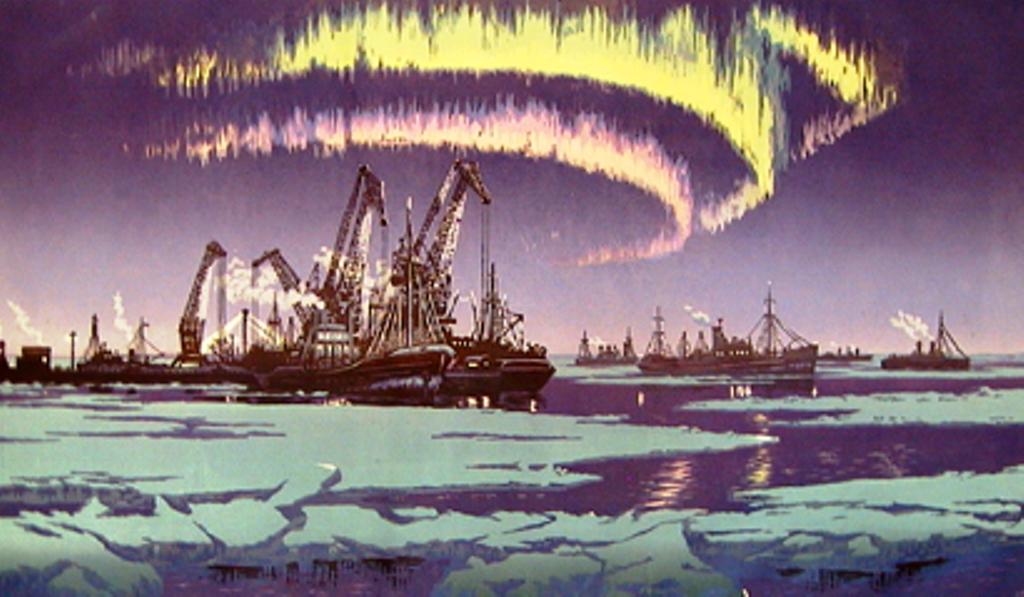 Мешков В.И. Северный порт. 2-я пол.20 в. бумага, цветная линогравюра, 43,2 х 73,8