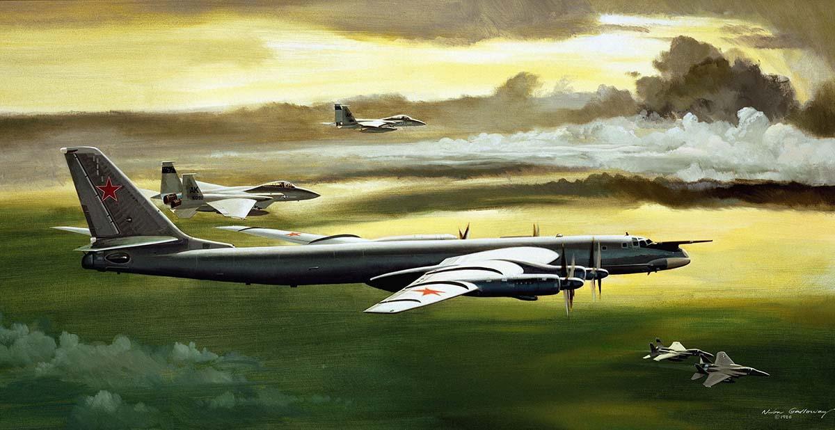 Ту-95МС в окружении F-15