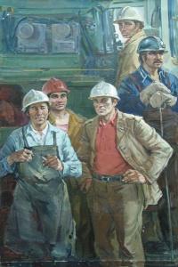 Резчики металла завода КАМАЗа. Куделькин В.И. Год: 1980 г. Техника: Холст, масло.