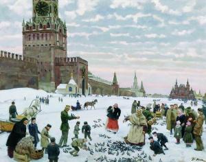 Константин Федорович Юон. Кормление голубей на Красной площади в 1890-1900 годах. 1946 г.
