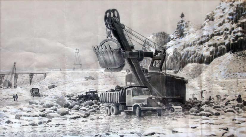 Бобылев Г. Н., Отсыпка перемычки, 1957 год