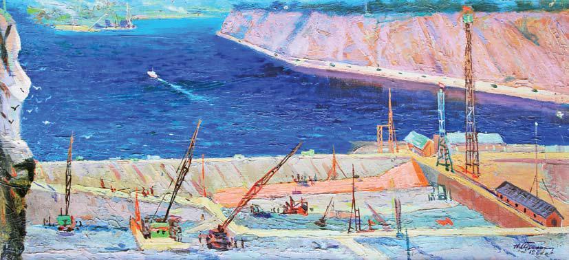 Прокопенко Н. В., Вид на строительство Братской ГЭС, 1957 год