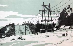 Развозжаев С. М., Временная высоковольтная линия, 1957 год