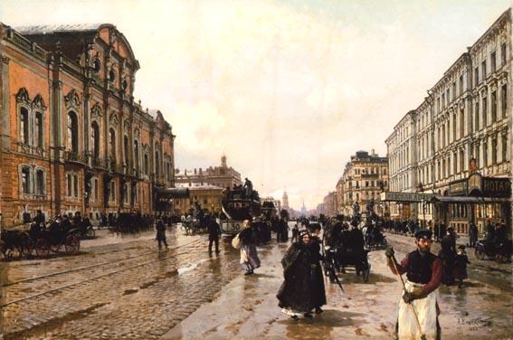 Александр Карлович Беггров «Утром на Невском проспекте», (1886) — частное собрание