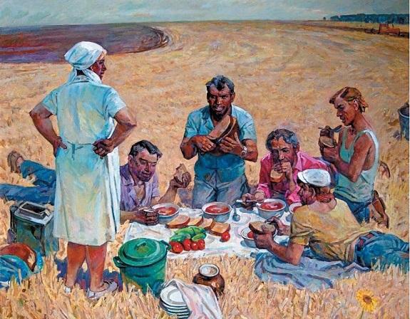 Хабленко Михаил Семёнович (Россия, 1928) «Обед в поле»