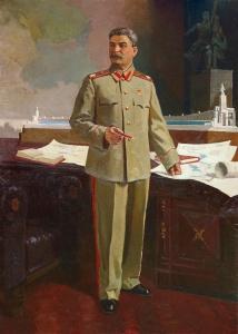 И.В. Сталин утверждает эскиз павильона СССР на Всемирной выставке в Париже в 1937 году. Бубнов А.П. Рубеж 1940-х гг.