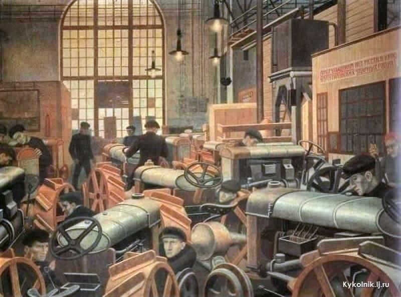П.Филонов. Тракторная мастерская Путиловского завода. 1931–1932. Холст, масло. ГРМ