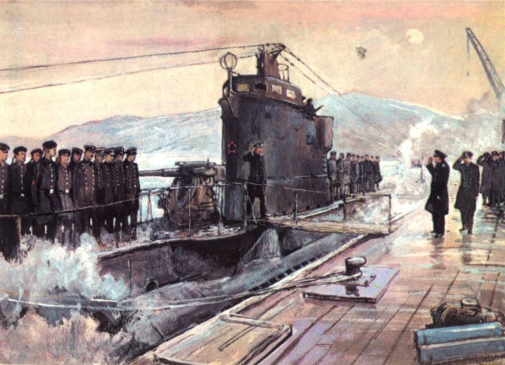 Гвардейская подводная лодка «Д-3» возвращается с победой». Художник П.П. Павлинов, открытка.