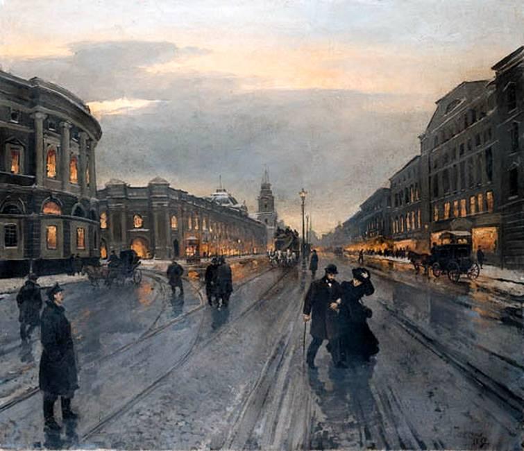 Картины художника Александра Беггрова «Невский проспект вечером»