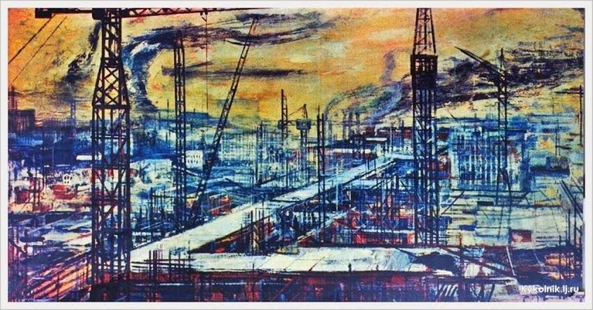 Окас Эвальд Карлович (1915-2011) «Строительство города»