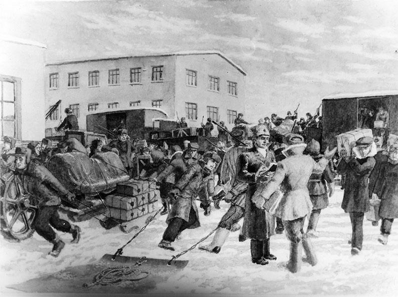 Сцена выгрузки эшелона с оборудованием Московского авиационного завода №22, уже прибывшего в Казань. Ноябрь 1941 г.